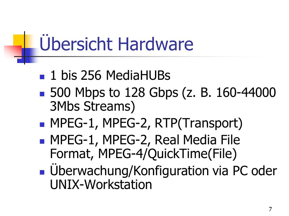 Übersicht Hardware 1 bis 256 MediaHUBs