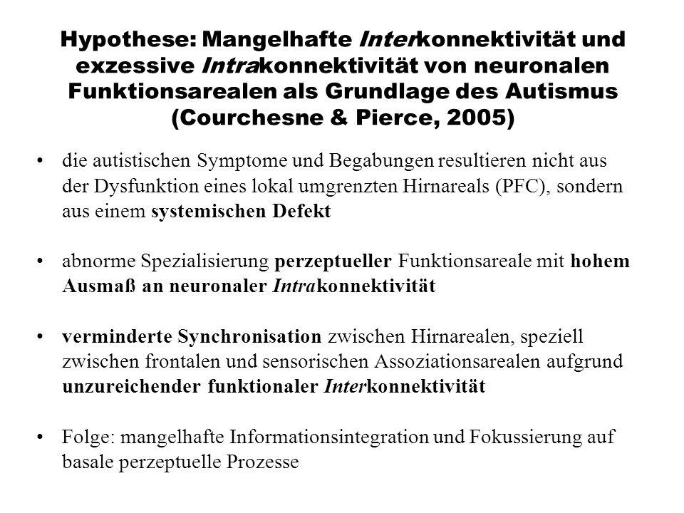 Hypothese: Mangelhafte Interkonnektivität und exzessive Intrakonnektivität von neuronalen Funktionsarealen als Grundlage des Autismus (Courchesne & Pierce, 2005)