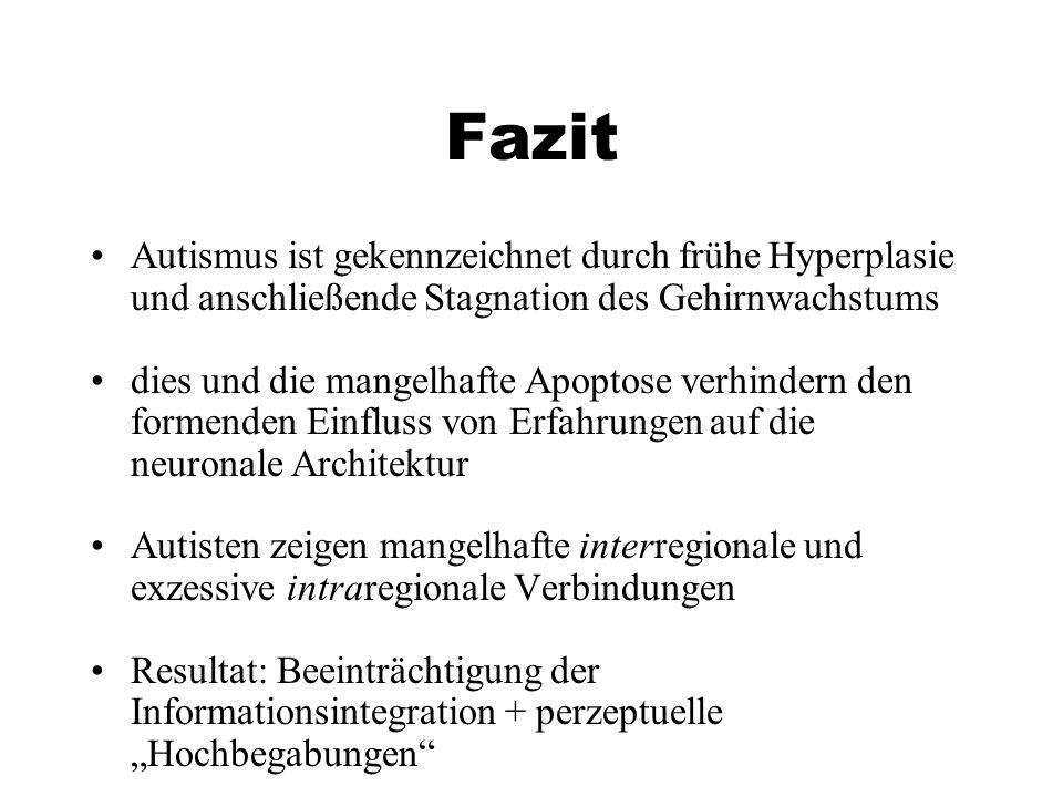 Fazit Autismus ist gekennzeichnet durch frühe Hyperplasie und anschließende Stagnation des Gehirnwachstums.