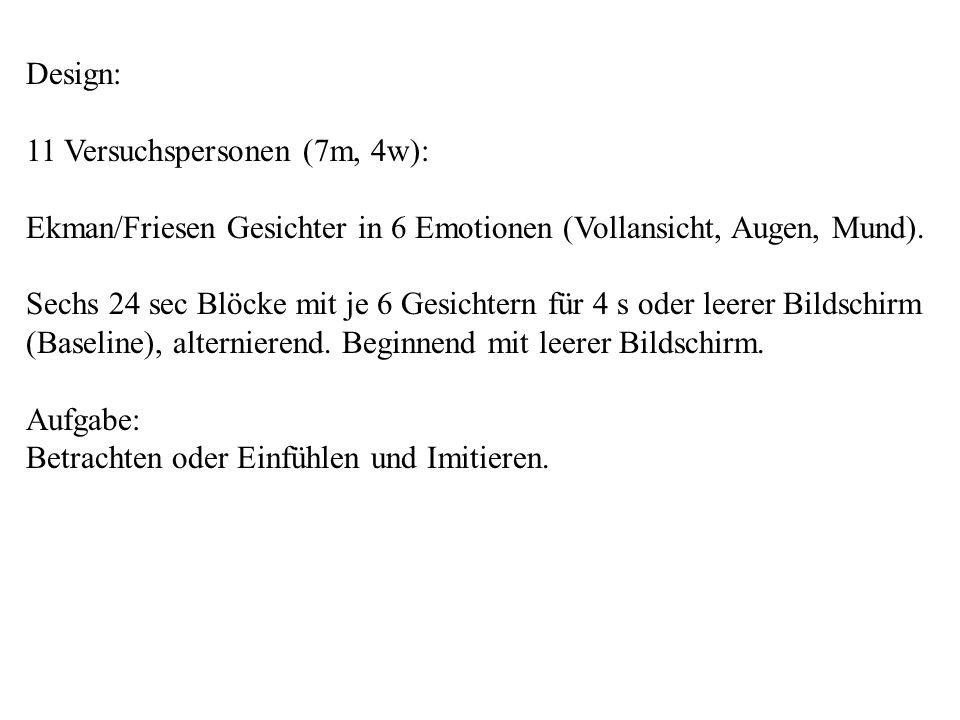 Design: 11 Versuchspersonen (7m, 4w): Ekman/Friesen Gesichter in 6 Emotionen (Vollansicht, Augen, Mund).