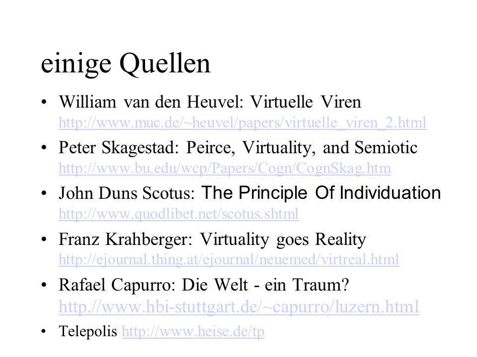 einige Quellen William van den Heuvel: Virtuelle Viren http://www.muc.de/~heuvel/papers/virtuelle_viren_2.html.