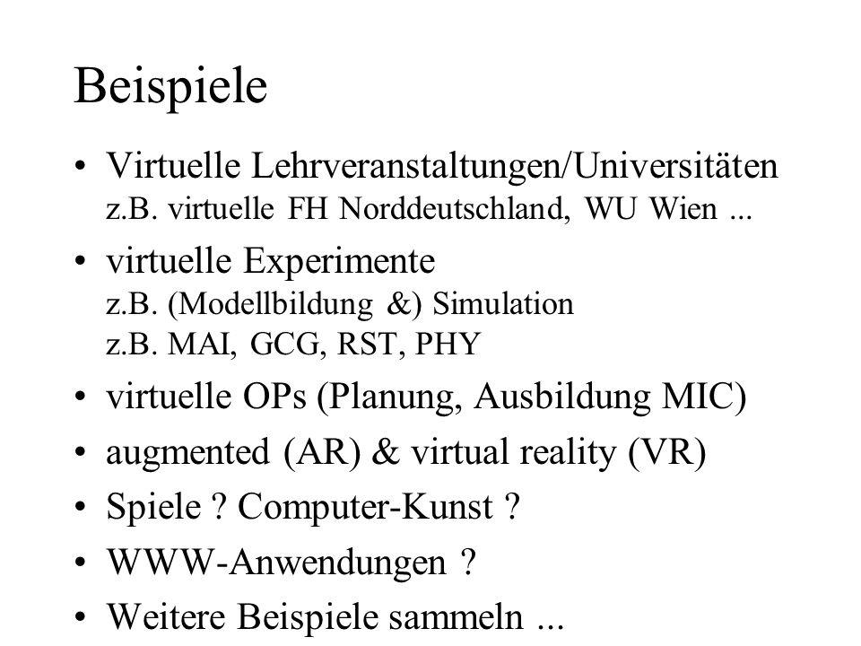 Beispiele Virtuelle Lehrveranstaltungen/Universitäten z.B. virtuelle FH Norddeutschland, WU Wien ...