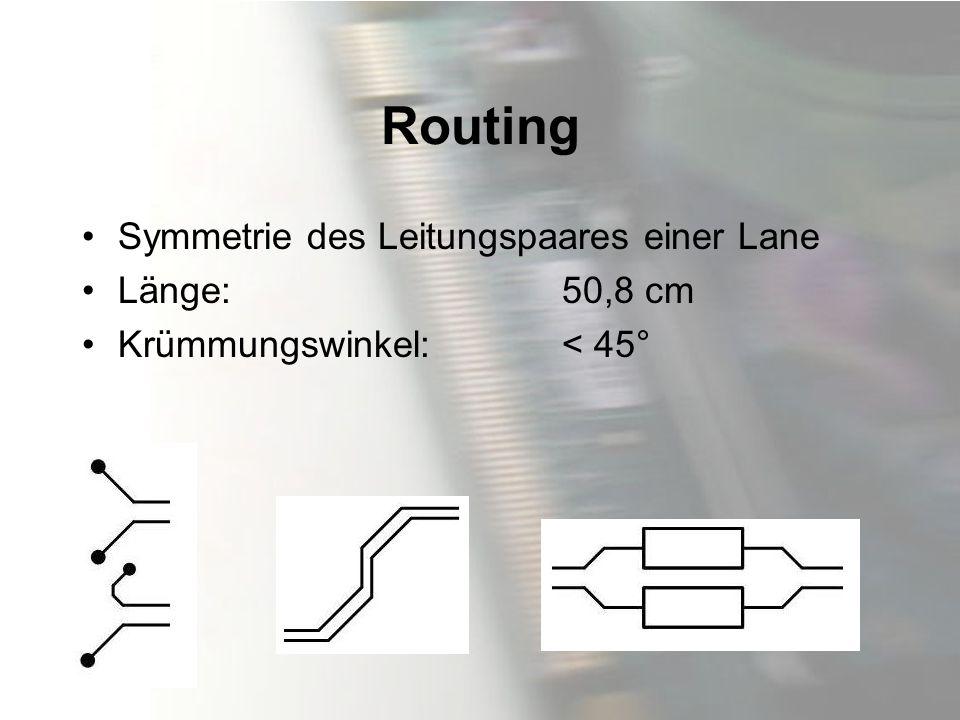 Routing Symmetrie des Leitungspaares einer Lane Länge: 50,8 cm