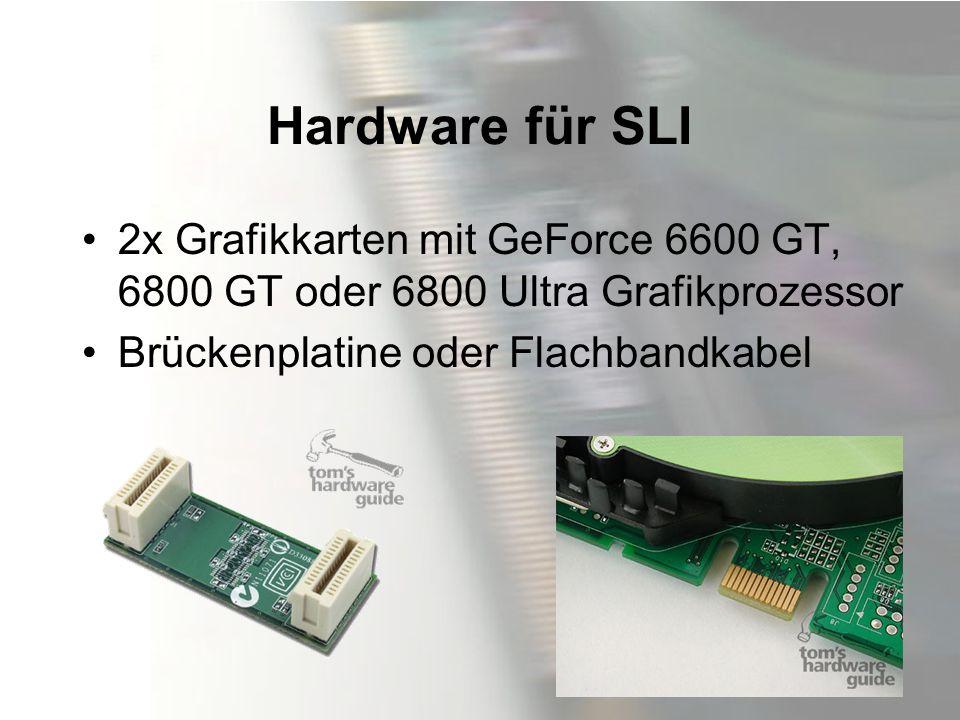 Hardware für SLI 2x Grafikkarten mit GeForce 6600 GT, 6800 GT oder 6800 Ultra Grafikprozessor.