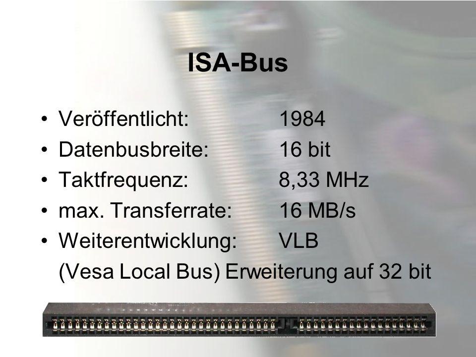 ISA-Bus Veröffentlicht: 1984 Datenbusbreite: 16 bit