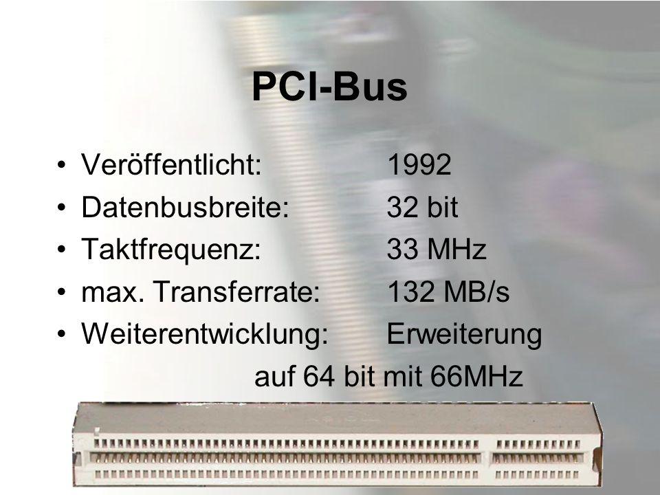 PCI-Bus Veröffentlicht: 1992 Datenbusbreite: 32 bit