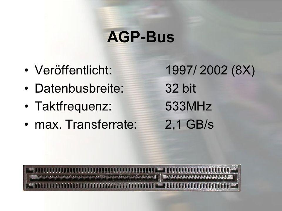 AGP-Bus Veröffentlicht: 1997/ 2002 (8X) Datenbusbreite: 32 bit