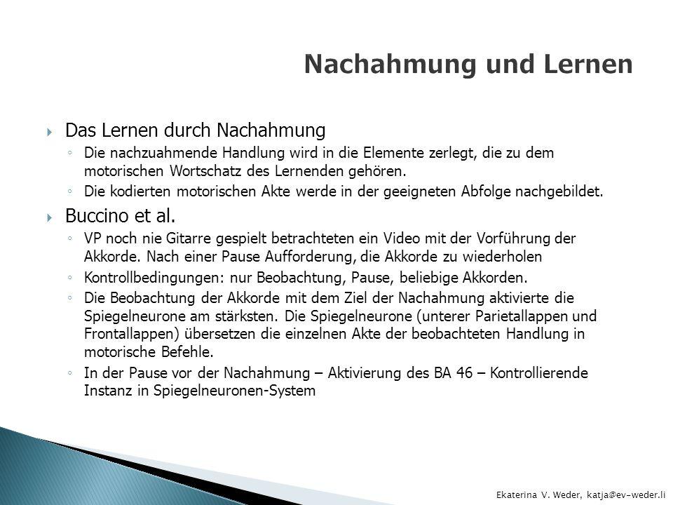 Nachahmung und Lernen Das Lernen durch Nachahmung Buccino et al.