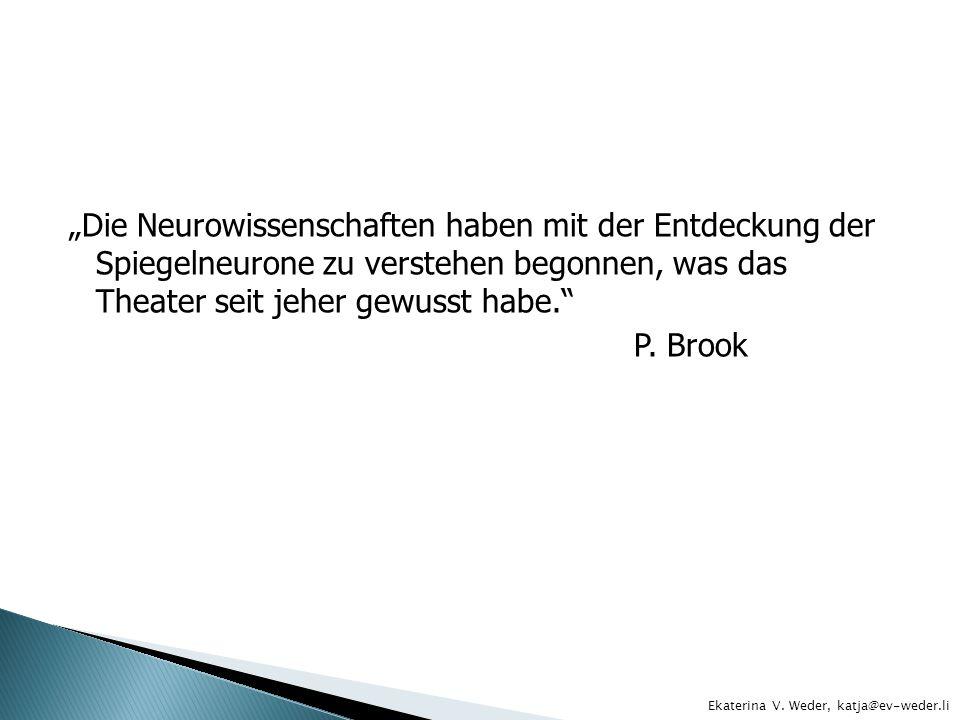 """""""Die Neurowissenschaften haben mit der Entdeckung der Spiegelneurone zu verstehen begonnen, was das Theater seit jeher gewusst habe. P. Brook"""
