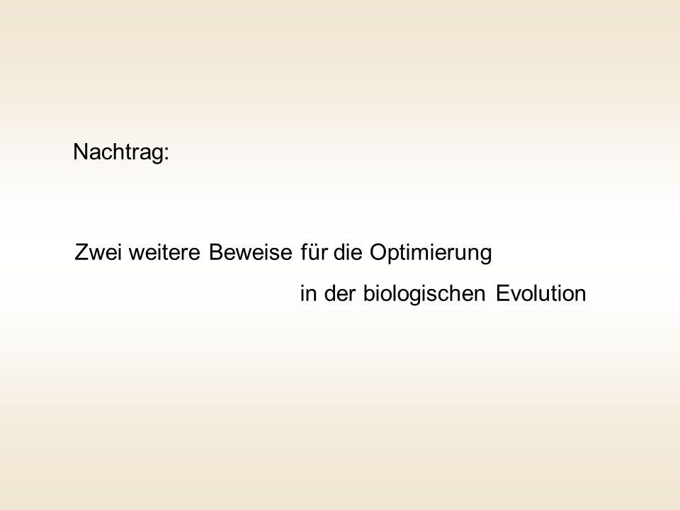 Nachtrag: Zwei weitere Beweise für die Optimierung in der biologischen Evolution