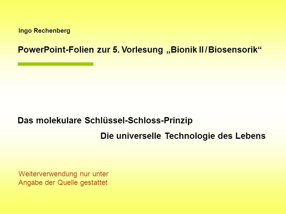 """PowerPoint-Folien zur 5. Vorlesung """"Bionik II / Biosensorik"""