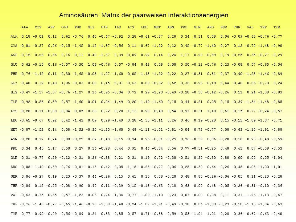 Aminosäuren: Matrix der paarweisen Interaktionsenergien