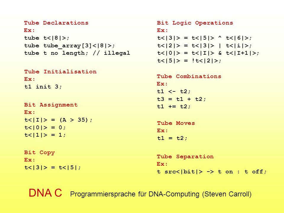 DNA C Programmiersprache für DNA-Computing (Steven Carroll)