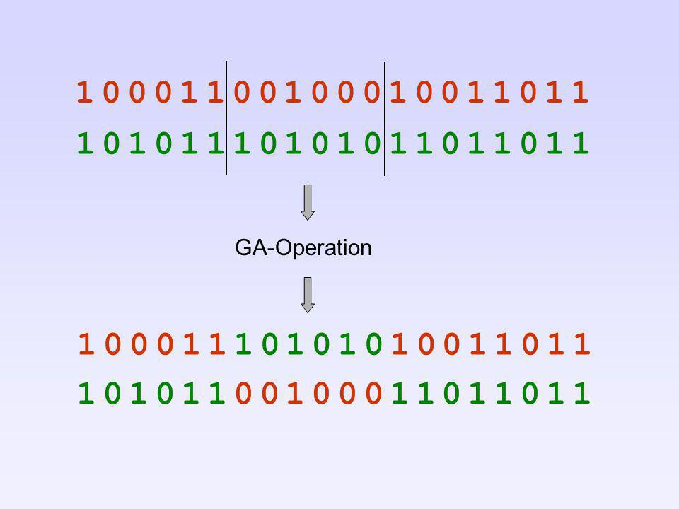 1 0 0 0 1 1 0 0 1 0 0 0 1 0 0 1 1 0 1 1 1 0 1 0 1 1 1 0 1 0 1 0 1 1 0 1 1 0 1 1. GA-Operation. 1 0 0 0 1 1 1 0 1 0 1 0 1 0 0 1 1 0 1 1.