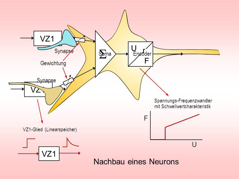 S VZ1 U F VZ1 VZ1 Nachbau eines Neurons F U Synapse Soma Encoder
