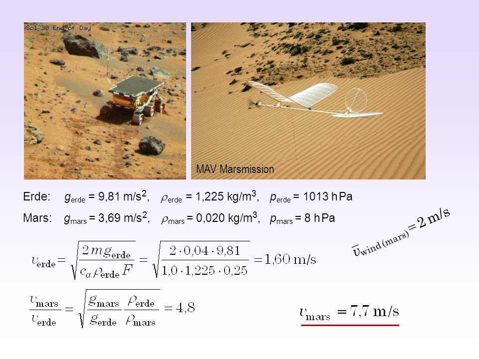 MAV Marsmission Erde: gerde = 9,81 m/s2, r erde = 1,225 kg/m3, perde = 1013 h Pa.