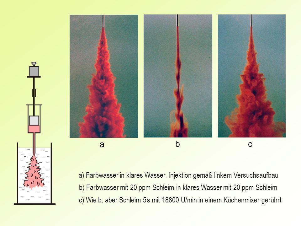 ab. c. a) Farbwasser in klares Wasser. Injektion gemäß linkem Versuchsaufbau. b) Farbwasser mit 20 ppm Schleim in klares Wasser mit 20 ppm Schleim.