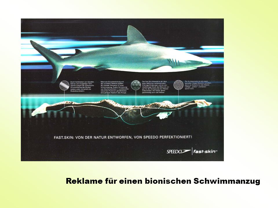 Reklame für einen bionischen Schwimmanzug