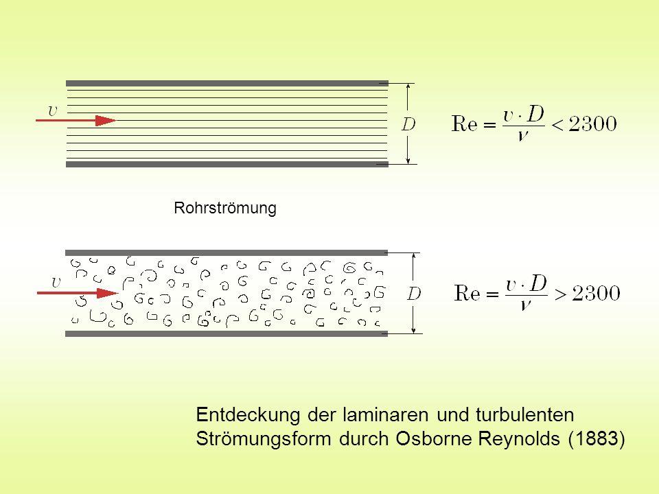 Rohrströmung Entdeckung der laminaren und turbulenten Strömungsform durch Osborne Reynolds (1883)