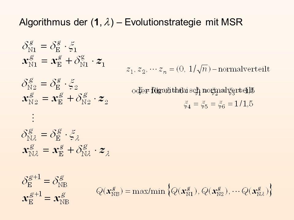 Algorithmus der (1, l ) – Evolutionstrategie mit MSR