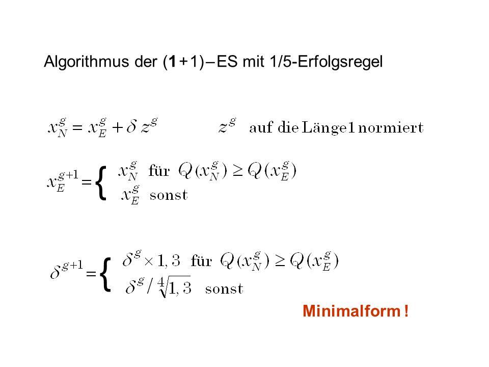 Algorithmus der (1 + 1) – ES mit 1/5-Erfolgsregel