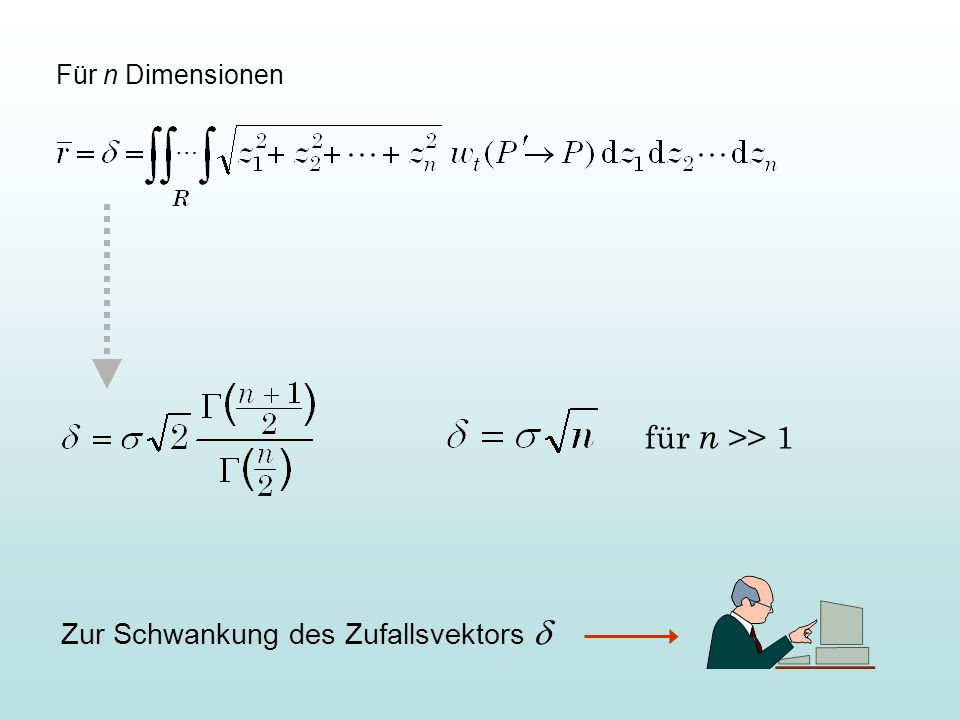 für n >> 1 Zur Schwankung des Zufallsvektors d Für n Dimensionen