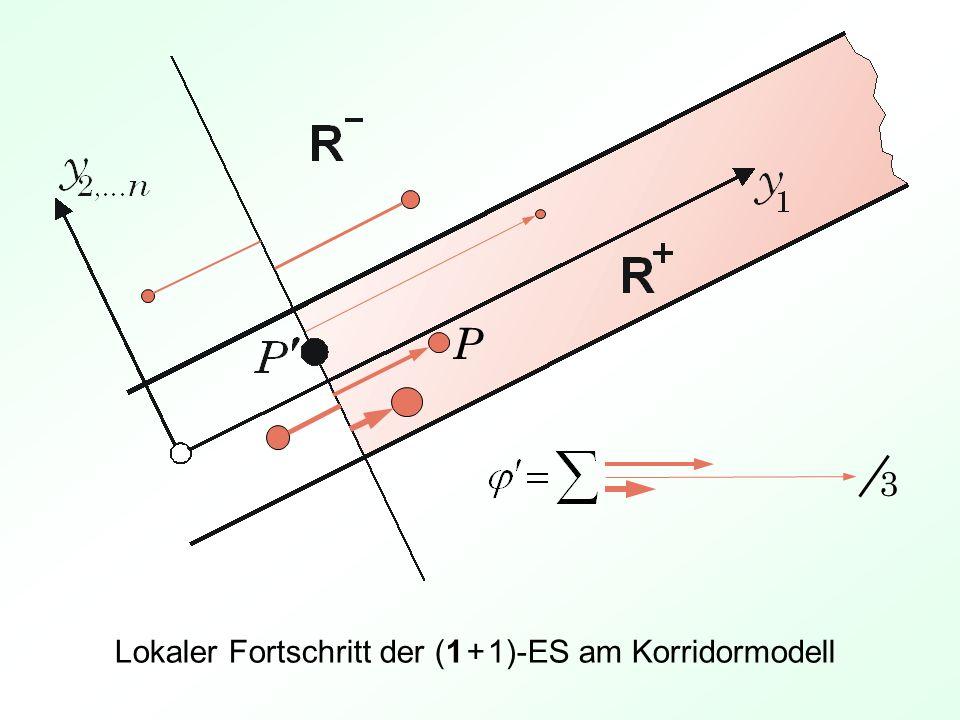P 3 Lokaler Fortschritt der (1 + 1)-ES am Korridormodell