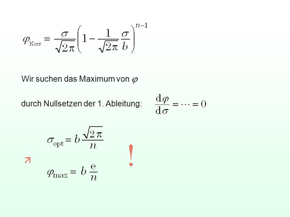 Wir suchen das Maximum von j