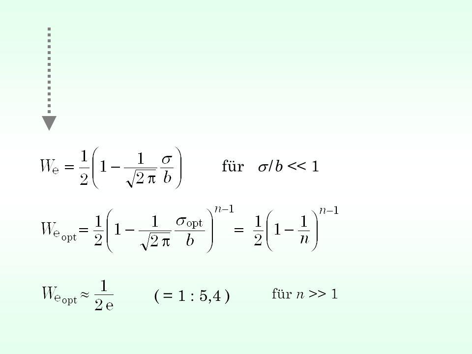 für s / b << 1 opt ( = 1 : 5,4 ) für n >> 1 opt