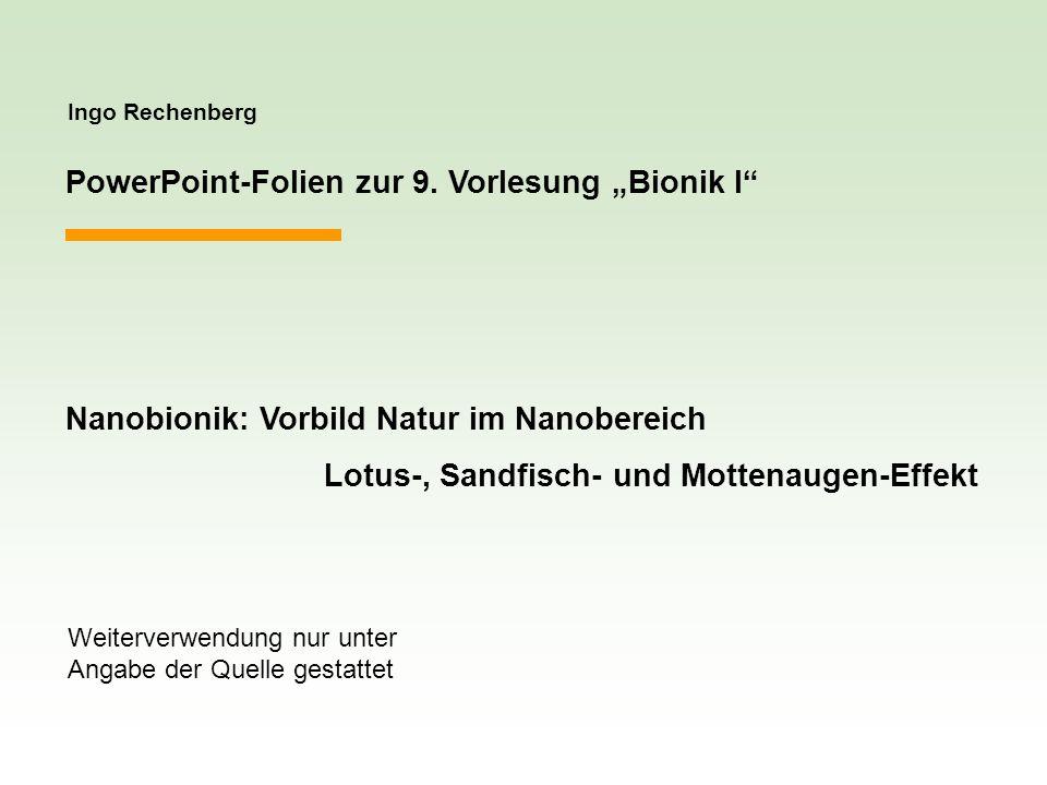 """PowerPoint-Folien zur 9. Vorlesung """"Bionik I"""