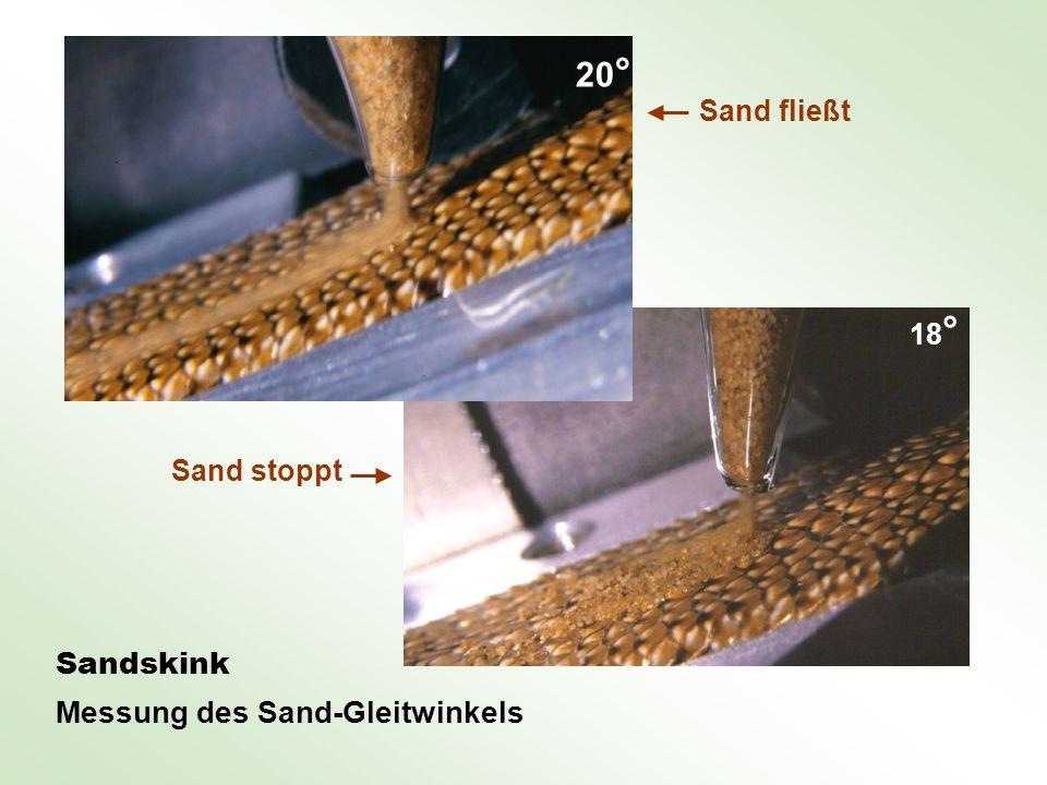 20° Sandskink Messung des Sand-Gleitwinkels Sand fließt 18°