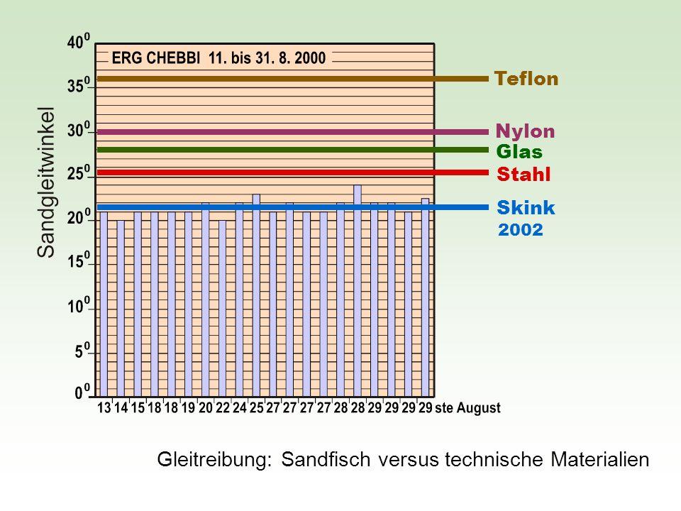 Gleitreibung: Sandfisch versus technische Materialien