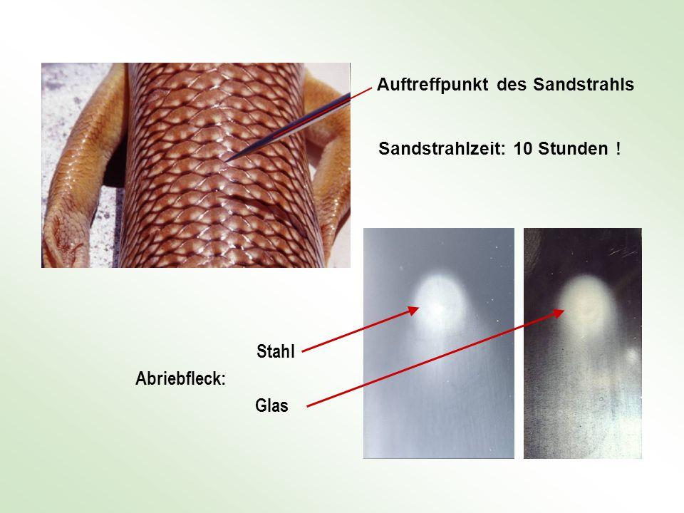 Stahl Abriebfleck: Glas Auftreffpunkt des Sandstrahls