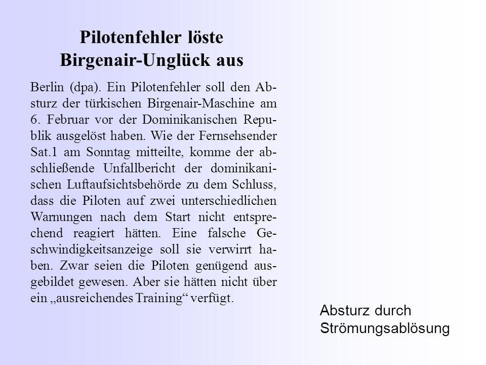 Pilotenfehler löste Birgenair-Unglück aus