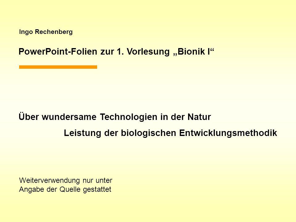 """PowerPoint-Folien zur 1. Vorlesung """"Bionik I"""