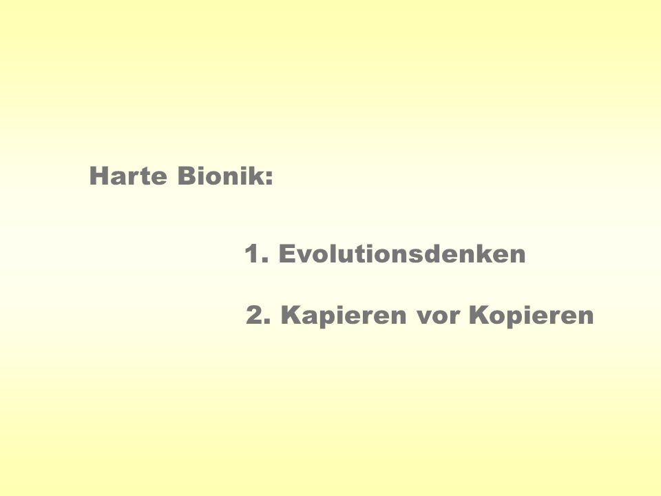 Harte Bionik: 1. Evolutionsdenken 2. Kapieren vor Kopieren