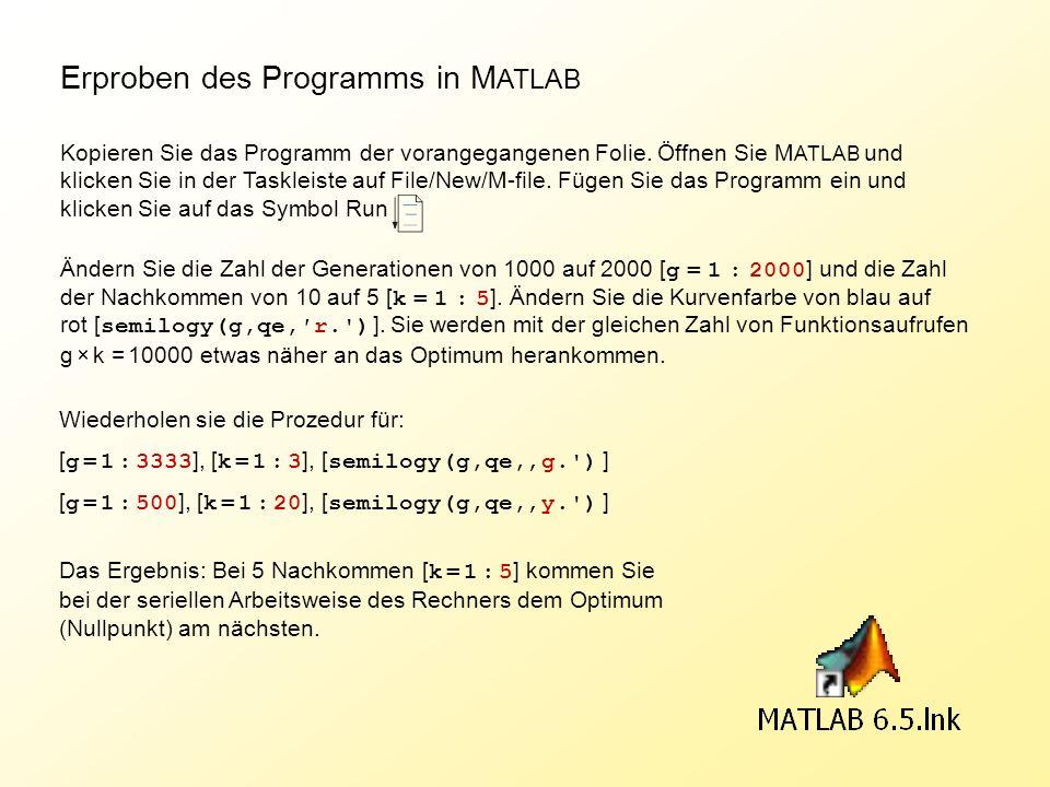 Erproben des Programms in MATLAB