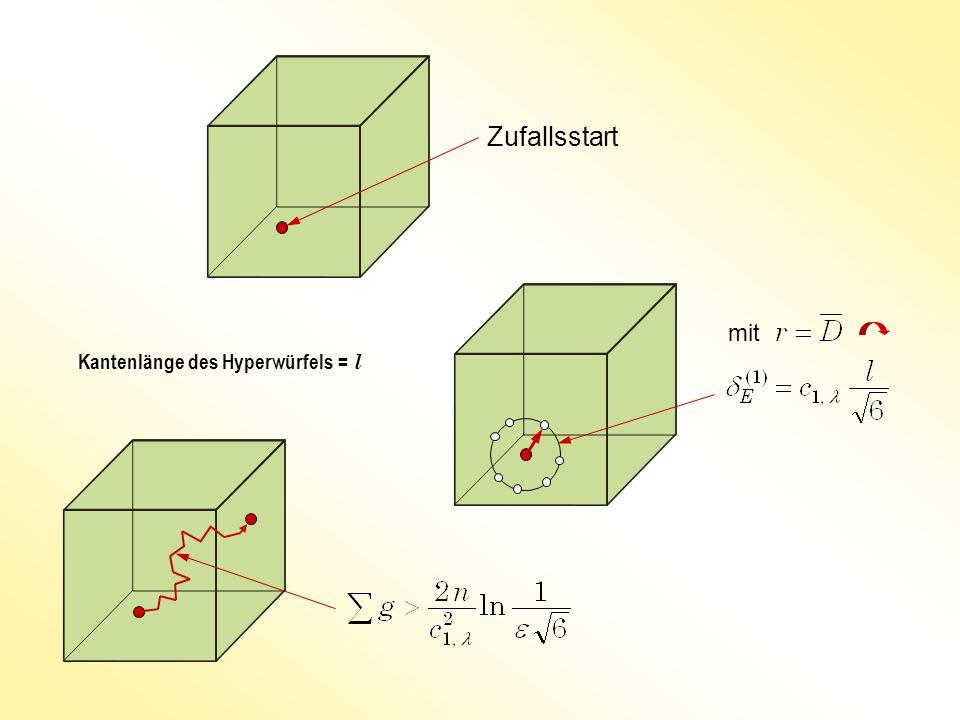 Zufallsstart mit Kantenlänge des Hyperwürfels = l