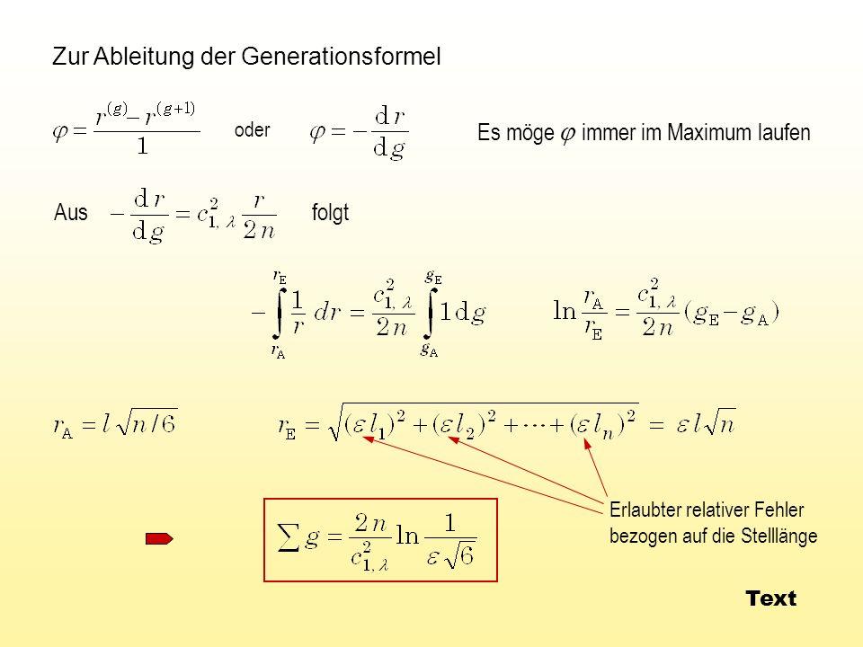 Zur Ableitung der Generationsformel