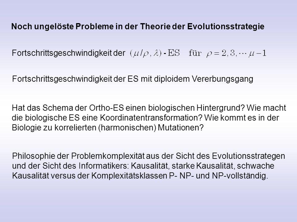 Noch ungelöste Probleme in der Theorie der Evolutionsstrategie