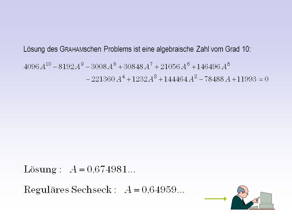 Lösung des GRAHAMschen Problems ist eine algebraische Zahl vom Grad 10: