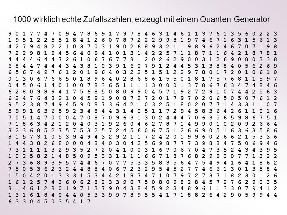 1000 wirklich echte Zufallszahlen, erzeugt mit einem Quanten-Generator