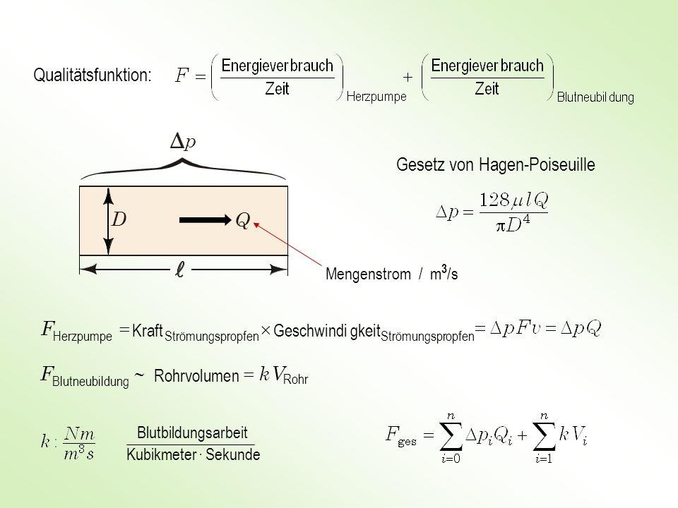 p D Q Qualitätsfunktion: Gesetz von Hagen-Poiseuille ´ = F F  V k =