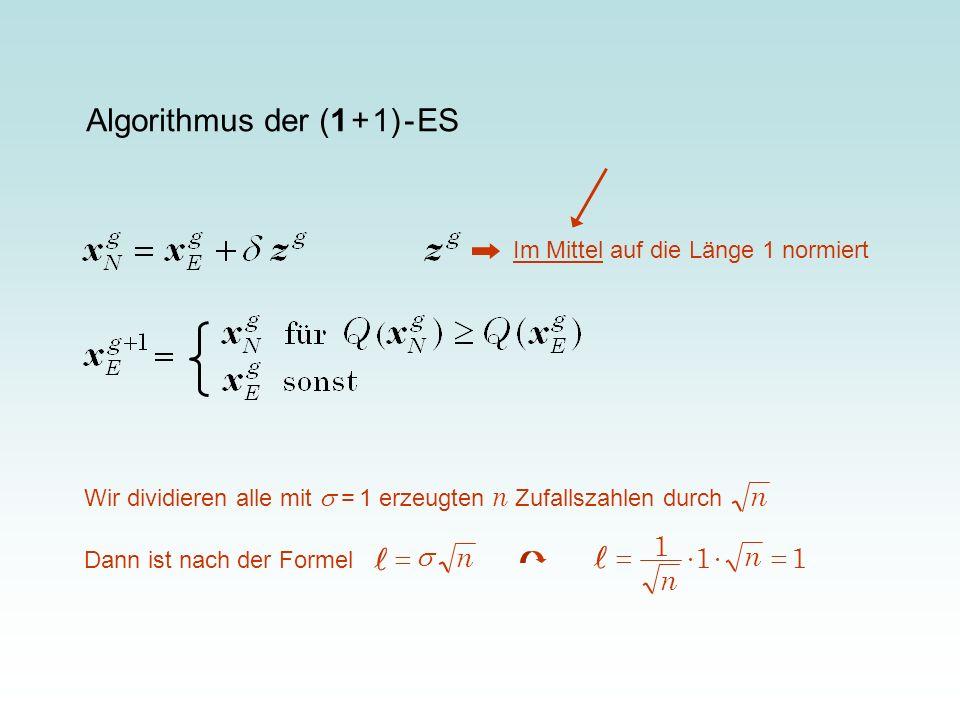 l l Algorithmus der (1 + 1) - ES n 1 = × n n = s