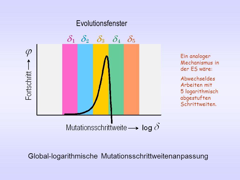 Evolutionsfenster Ein analoger Mechanismus in der ES wäre: Abwechseldes Arbeiten mit 5 logarithmisch abgestuften Schrittweiten.