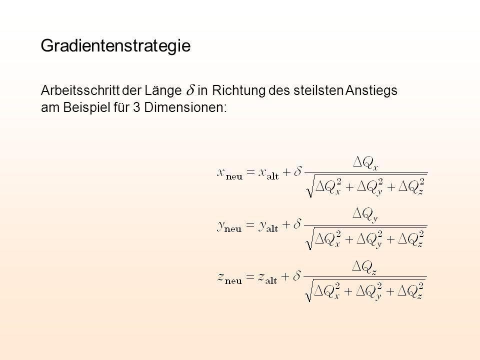 GradientenstrategieArbeitsschritt der Länge d in Richtung des steilsten Anstiegs am Beispiel für 3 Dimensionen: