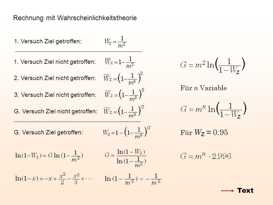 Rechnung mit Wahrscheinlichkeitstheorie