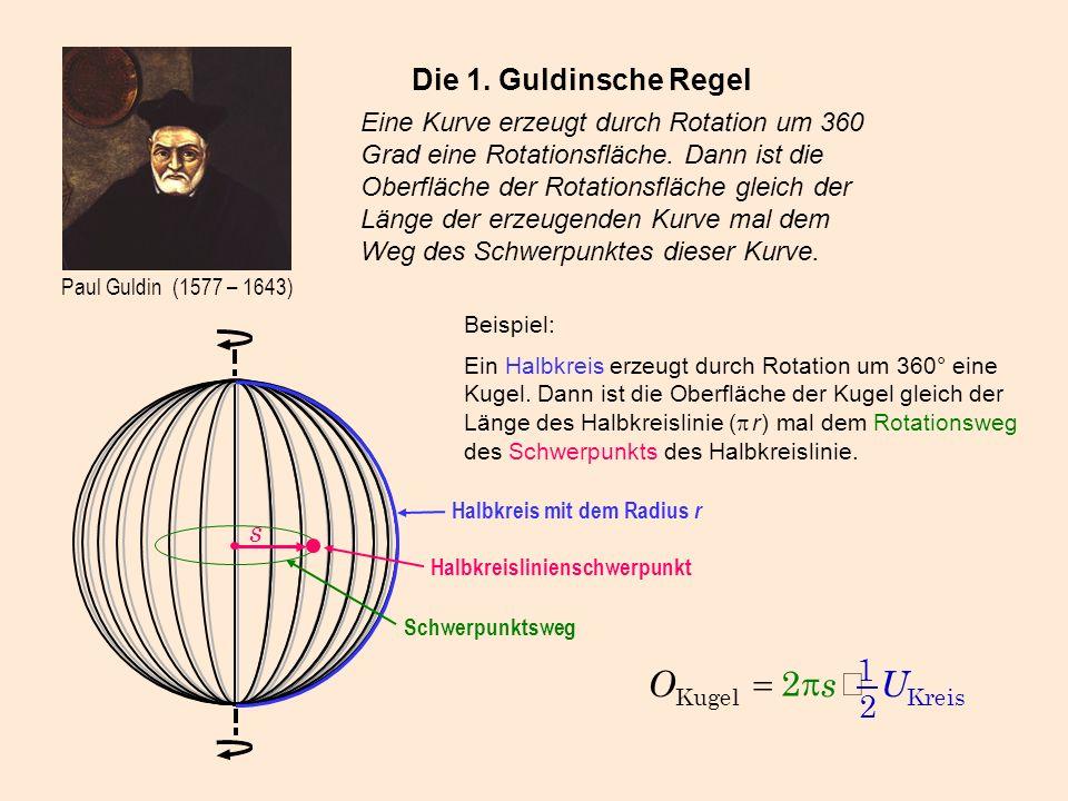 U s O × p = 1 2 Die 1. Guldinsche Regel s