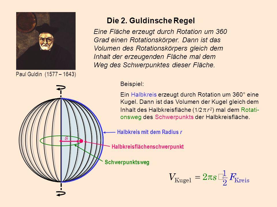 F s V × p = 1 2 Die 2. Guldinsche Regel s