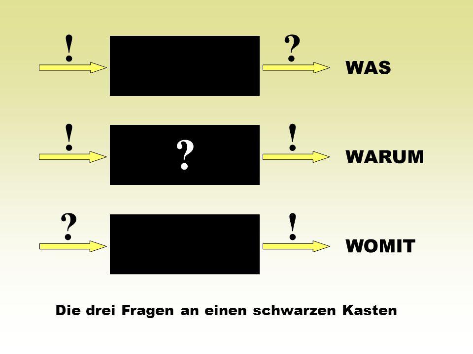 ! WAS ! ! WARUM ! WOMIT Die drei Fragen an einen schwarzen Kasten